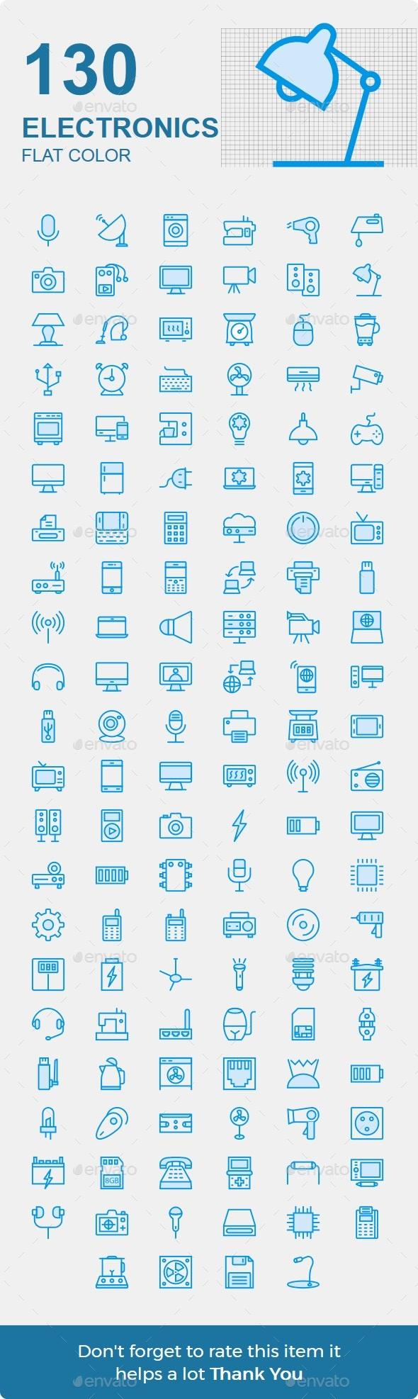 130 Electronics Cute - Technology Icons