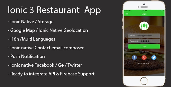 Ionic 3 Restaurant app with Firebase - CodeCanyon Item for Sale