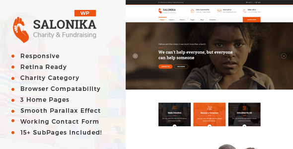 Salonika - Charity/Fundraising WordPress Theme - Charity Nonprofit