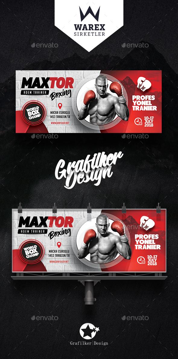 Boxing School Billboard Templates - Signage Print Templates