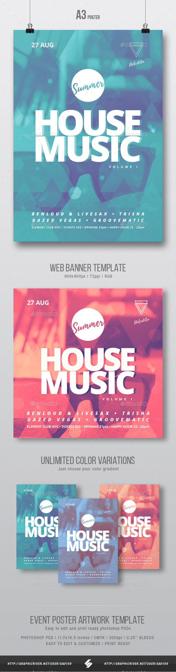 Summer House Music - Flyer / Poster Template A3 - Clubs & Parties Events