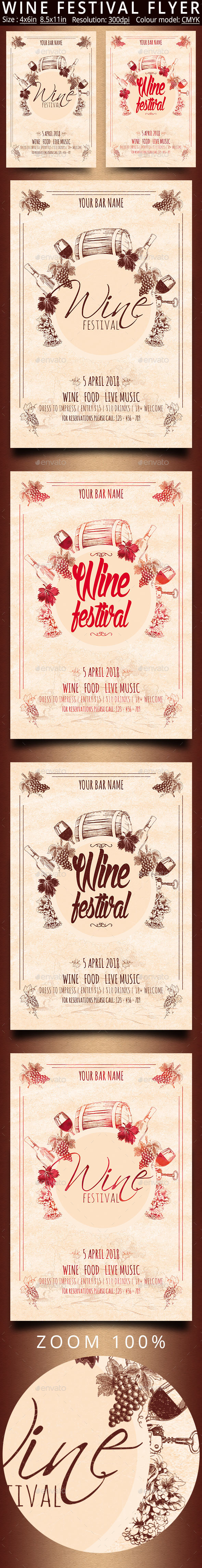Wine Festival Vintage Flyer - Events Flyers