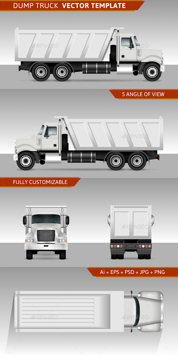 Dump Truck Vector Template - Man-made Objects Objects