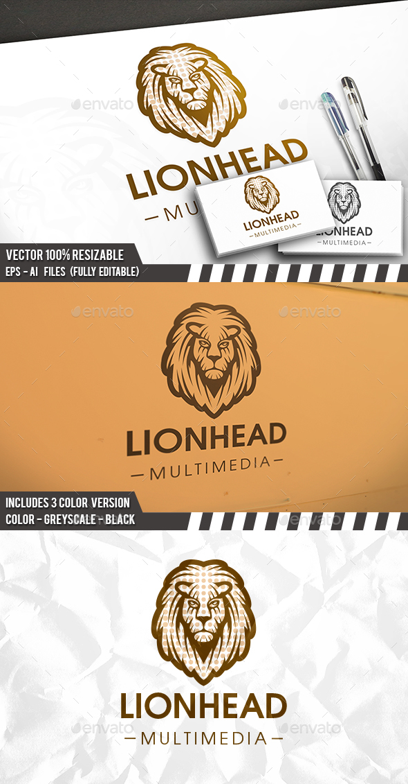 Dots Lion Logo - Animals Logo Templates