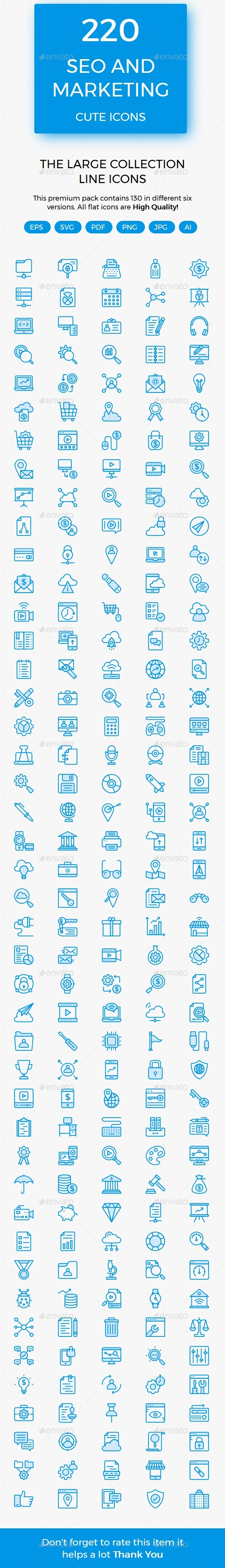 SEO & Marketing cute icons - Business Icons