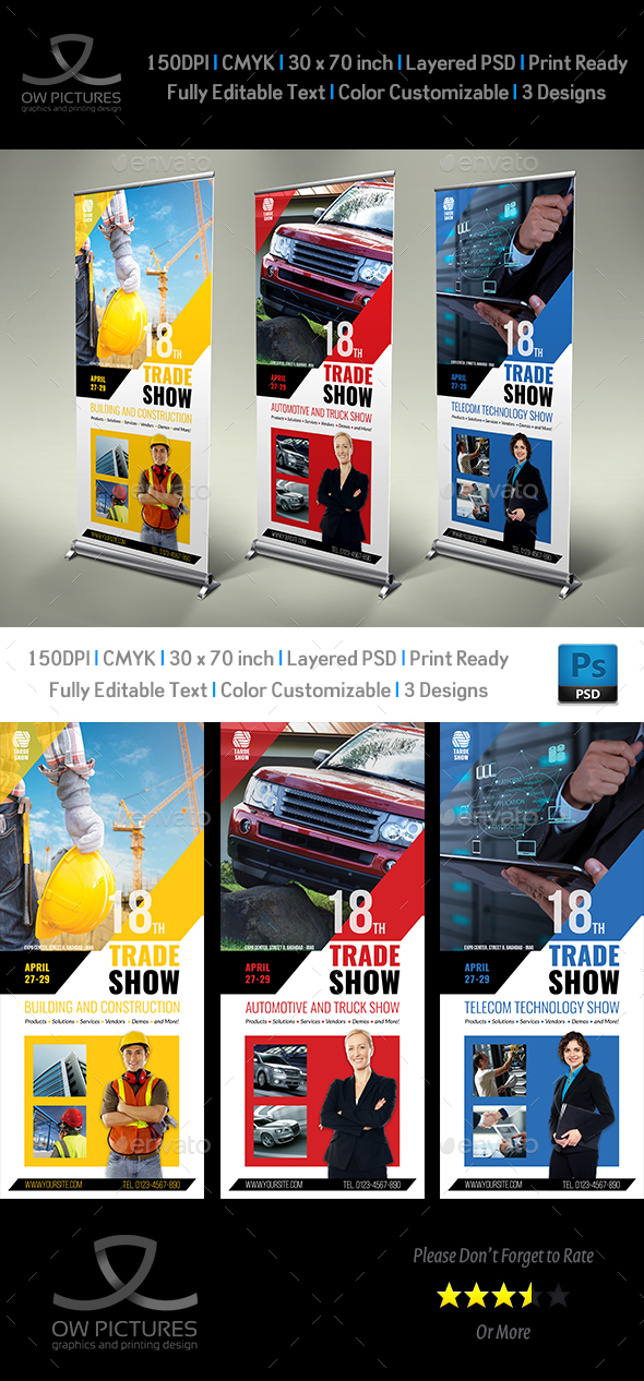 Trade Show Signage Banner Roll Up Template - Signage Print Templates