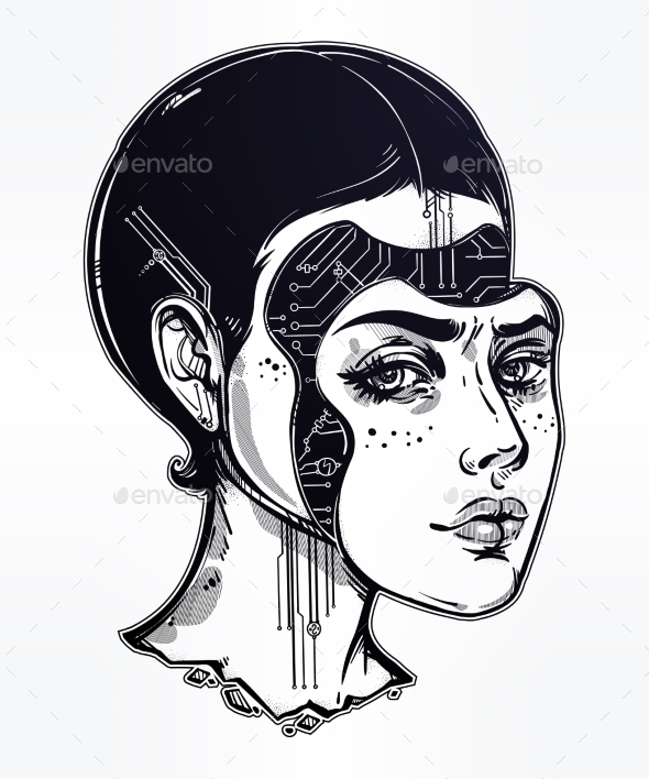Robot or Cyborg Girl Portrait Illustration. - Monsters Characters