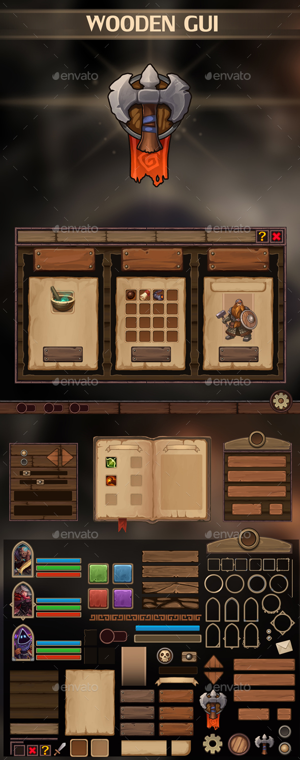 Wooden UI - User Interfaces Game Assets