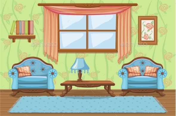 Set Cartoon Cushioned Furniture, Living Room - Buildings Objects