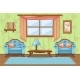 Set Cartoon Cushioned Furniture, Living Room - GraphicRiver Item for Sale