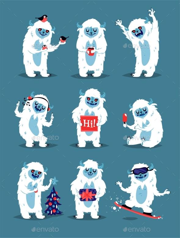 Yeti Abominable Snowman, Bigfoot Sasquatch - Animals Characters