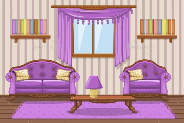 Set Cartoon Cushioned Furniture, Violet Living - Buildings Objects
