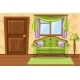 Set Cartoon Green Vintage Cushioned Furniture - GraphicRiver Item for Sale