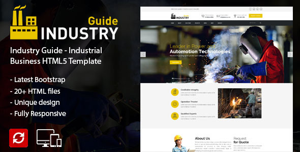 Industry Guide –  Industrial Business HTML Template - Creative Site Templates