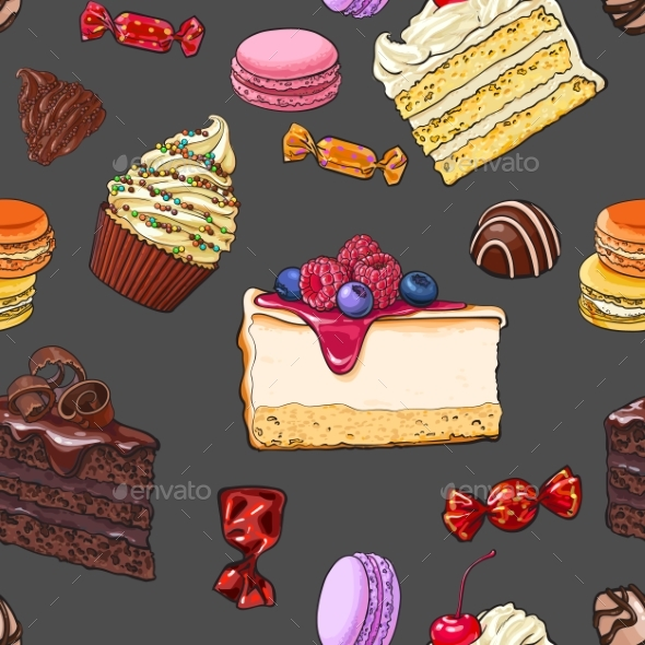 Seamless Pattern of Hand Drawn Cakes, Candies - Food Objects