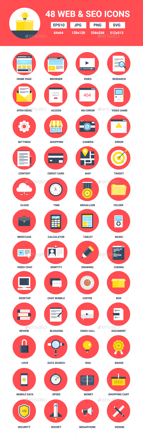 48 Flat Web and Seo Icons - Web Icons