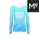 Woman Crew- O- V-neck Longsleeve Ghost Mockup - GraphicRiver Item for Sale