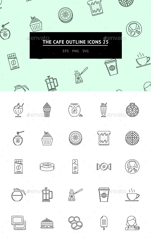 The Cafe Outline Icons 25 - Web Icons