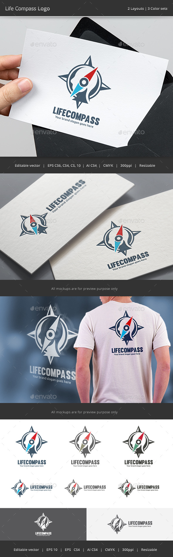 Life Compass Logo - Vector Abstract