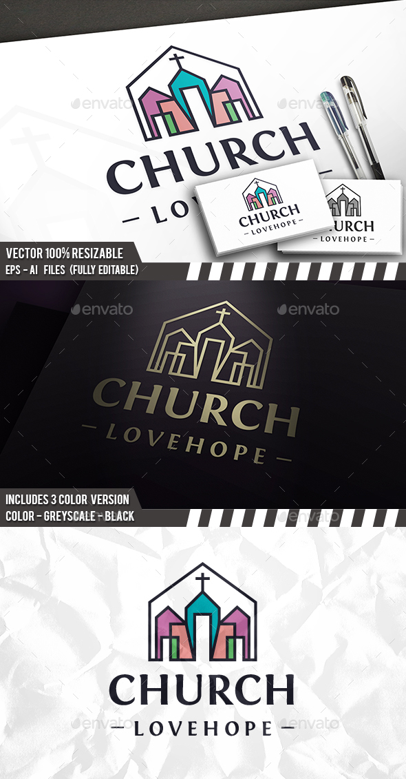 Church Line Colors Logo - Buildings Logo Templates