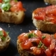 Classic Italian Bruschetta, Tomato, Garlic and Parsley on Toasted Bread - VideoHive Item for Sale