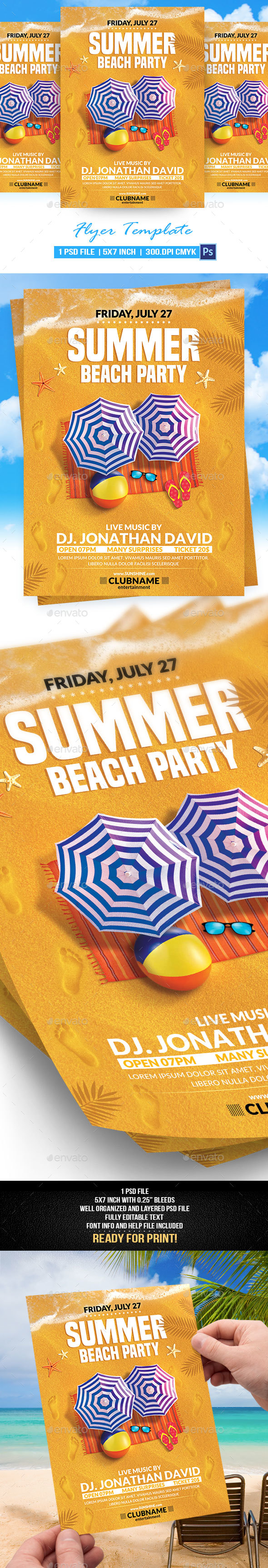 Summer Beach Party Flyer Template - Flyers Print Templates