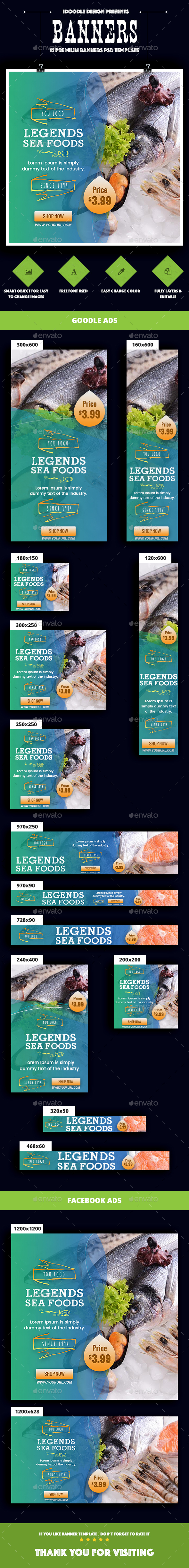 SeaFood Store, Fresh Food Banners Ad - Banners & Ads Web Elements