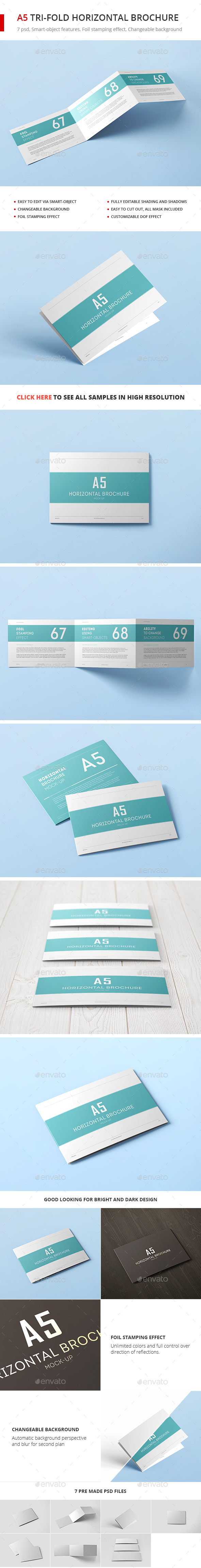 A5 Tri-Fold Horizontal Brochure Mock-up - Brochures Print