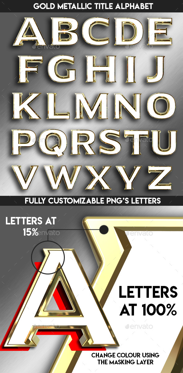 Gold Movie Title Alphabet - Text 3D Renders