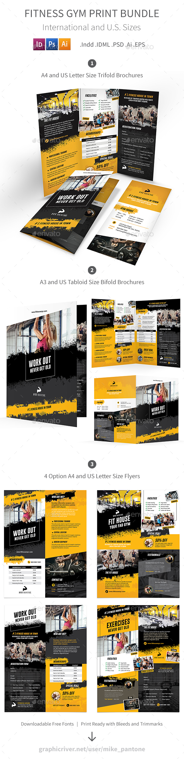 Fitness Gym Print Bundle 5 - Informational Brochures