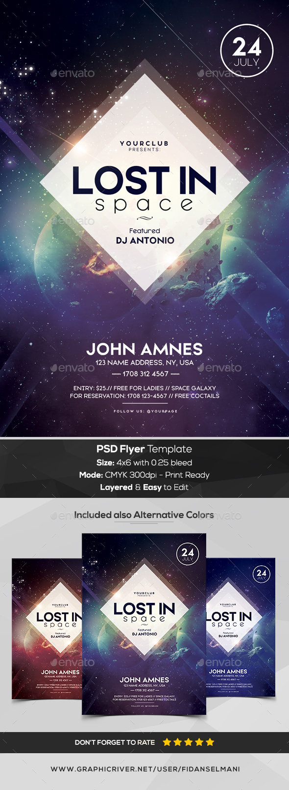 Lost in Space - PSD Flyer Template - Events Flyers