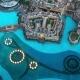 Aerial  The Dubai Fountain Water-light Show Near Burj Khalifa in the Evening