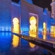 Mosque Reflected in the Water in Evening Lights - VideoHive Item for Sale