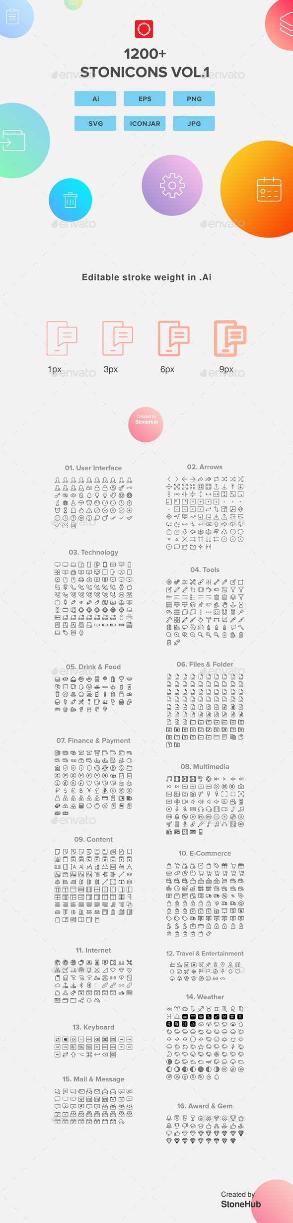 1200+ UI Design Vector Icons Pack - Web Icons