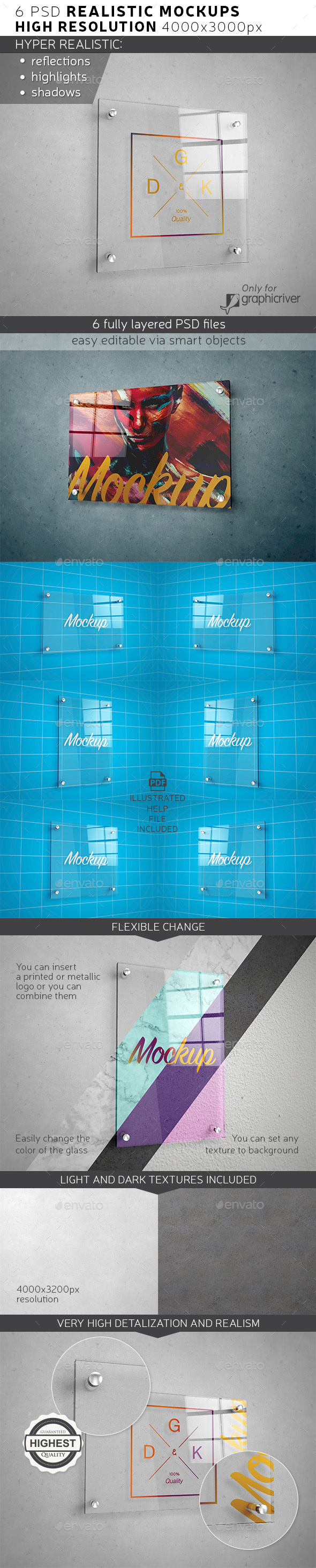 Glass Signage / Poster Mockup - Product Mock-Ups Graphics