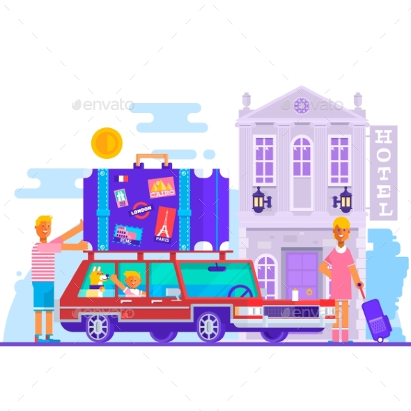 Family Travel Lifestyle Concept - People Characters