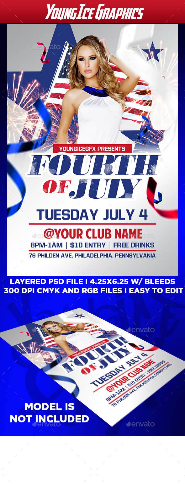Fourth of July Flyer Template - Clubs & Parties Events