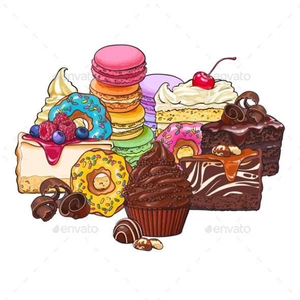 Heap of Various Sweets and Desserts - Food Objects