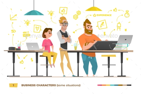 Business Characters in Some Situations - Concepts Business