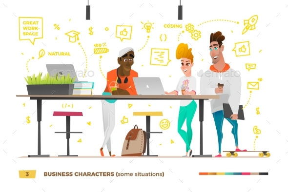 Business Characters in the Working Environment - Concepts Business
