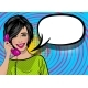 Pop Art Cartoon Woman Holding Retro Phone - GraphicRiver Item for Sale