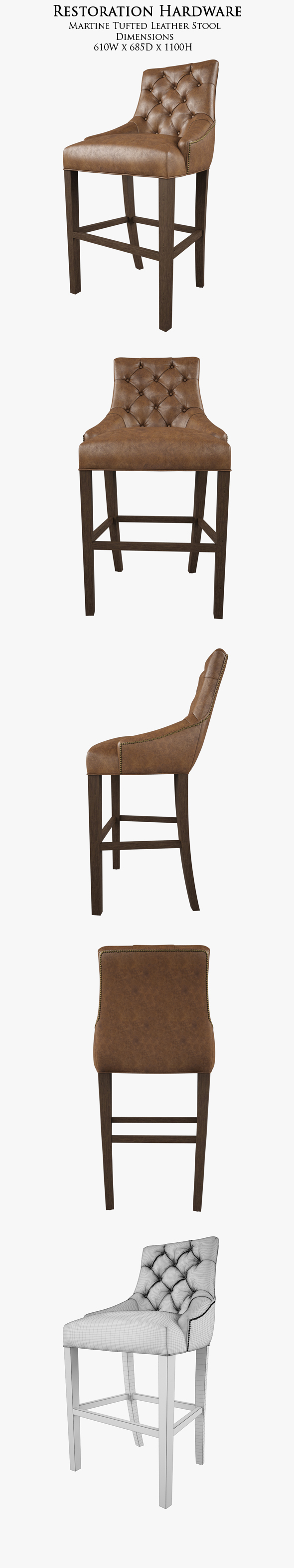 Restoration Hardware /Martine Tufted Leather Stool - 3DOcean Item for Sale