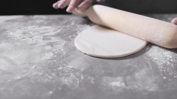 VideoHive The Cook Rolls Out the Dough Chef Is Baking Bakery Products Making the Dough 20204948