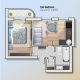 Vector Top View Illustration of Modern One Bedroom - GraphicRiver Item for Sale