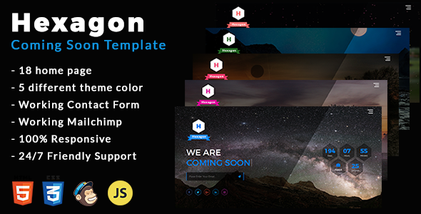 Hexagon - Coming Soon Template - Under Construction Specialty Pages