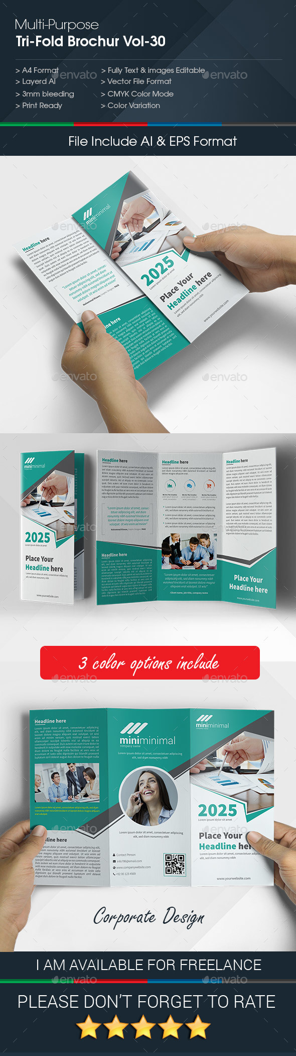 Multipurpose Business Tri-Fold Brochure Vol-30 - Corporate Brochures