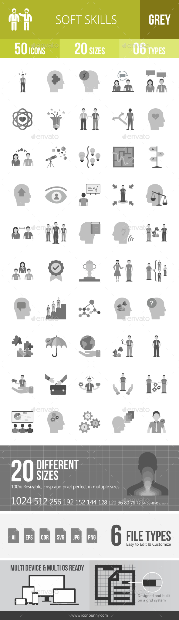 Soft Skills Greyscale Icons - Icons