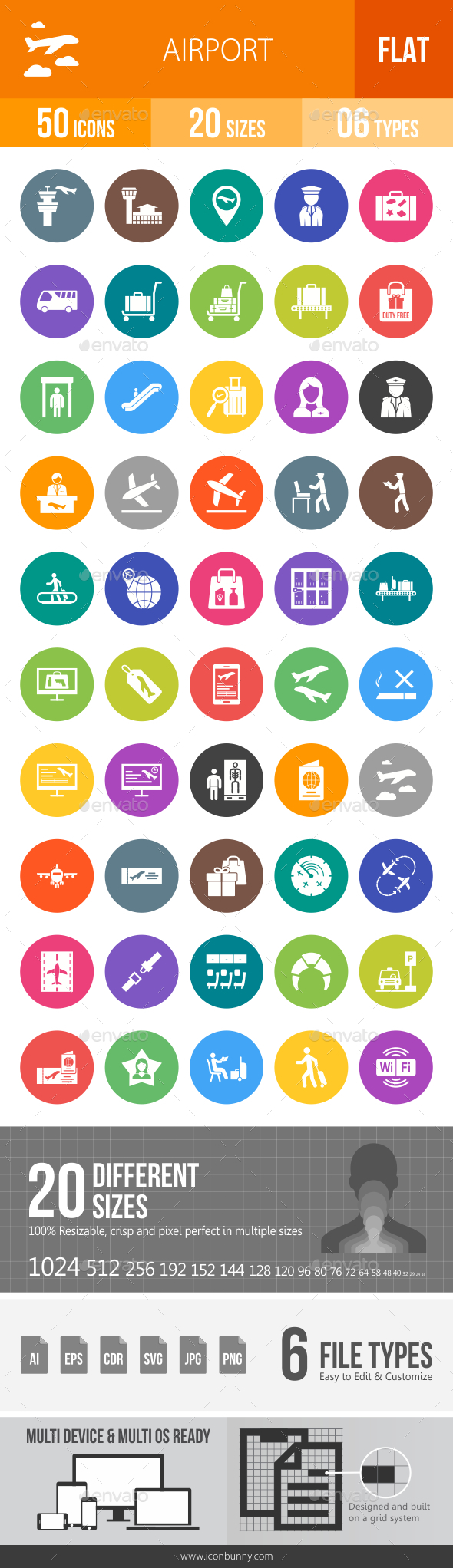 Airport Flat Round Icons - Icons