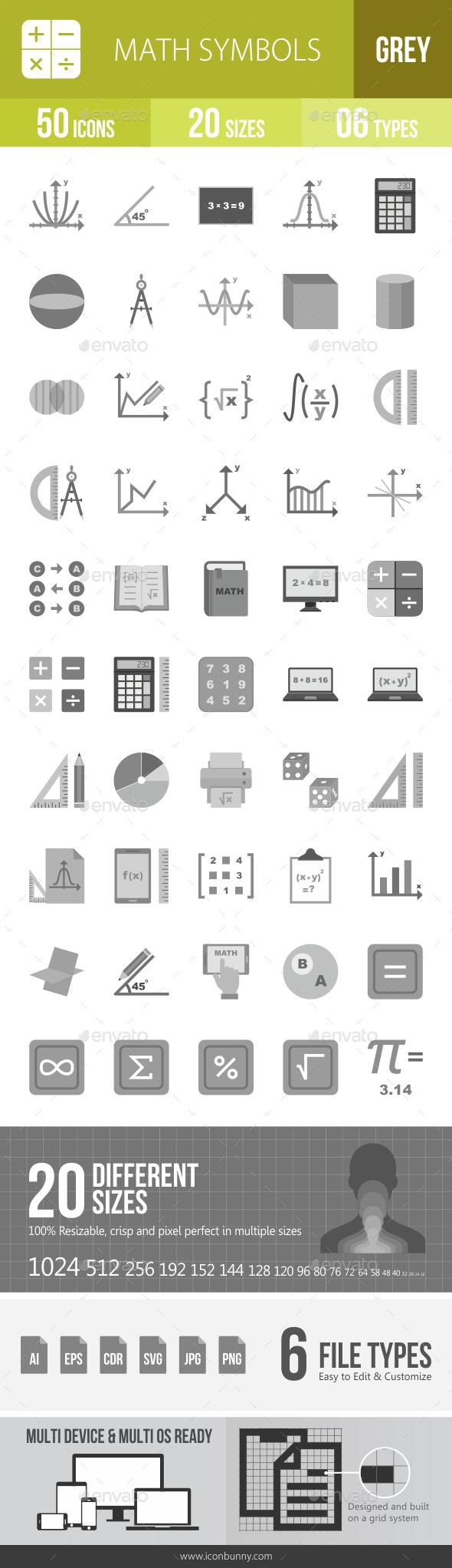 Math Symbols Greyscale Icons - Icons