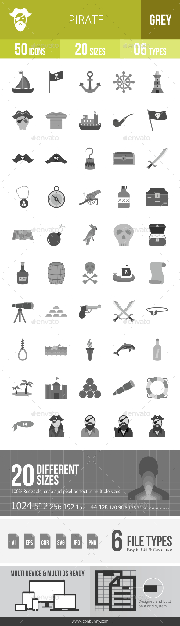 Pirate Greyscale Icons - Icons